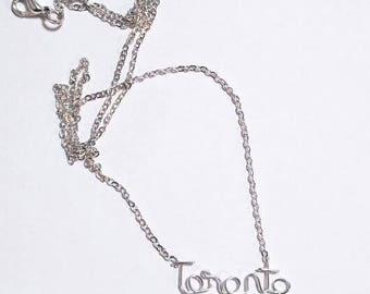 Toronto hand bent wire necklace / going away present /  sterling silver / gift / souvenir/ yyz / the6ix