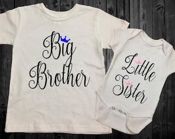 Big Brother/Little Sister OR Big Sister Little Brother - Sibling Shirt Set - Crown - Black/Blue/Pink