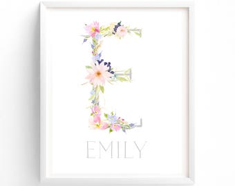 70% OFF SALE Pretty Floral Custom name, Monogram, Nursery Printable, Floral calligraphy 8 x 10 print art, girls