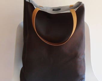 XL Bag,Tote Bag Brown, imitation leather, handbag,shopping bag,leather handles,gift idea
