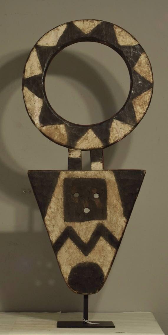 African Mask Black White Bedu Ivory Coast Ghana Handmade Geometric Black White  Secret Society Fertility Spiritual Bedu Mask