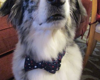 Dog Bow Tie Adjustable Independence Day Navy with Red and White Stars