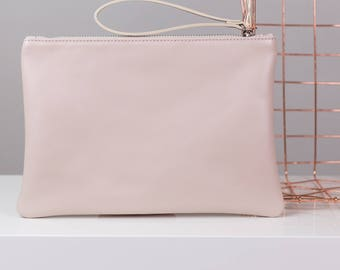 Blush Pink Leather Clutch with Silver Satin Lining