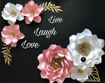Paper flower decor, Nursery paper flowers, Nursery wall decor, Large paper flower backdrop, Wall decor for girls room.