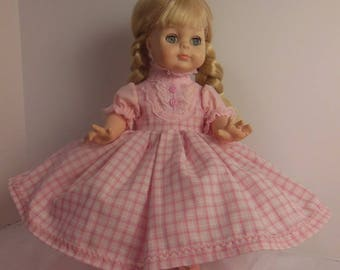"Pink Plaid Dress Set for 14"" Vogue Littlest Angel Dolls"