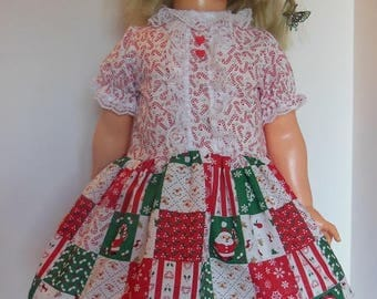 "Candy Cane Patchwork Print Dress Set for 30"" Ideal Betty Big Girl"