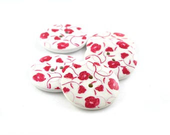 Round buttons 30 mm wooden red set of 5