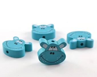 1 wood hippo turquoise bead