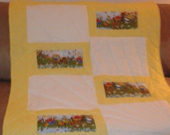 Yellow and white with garden  quilt handmade pinkladycottage