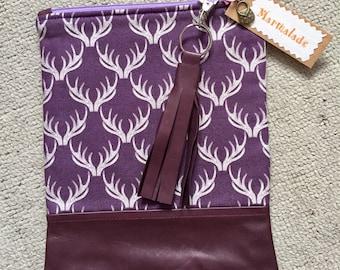 Handmade Brown Leather & Fabric Clutch
