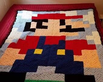 Mario Pixel 8bit Blanket Afghan