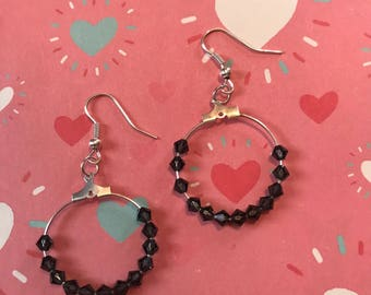 Handmade Swarovski Hoop Earrings