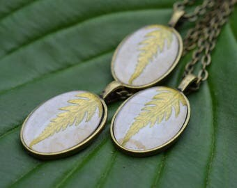 Golden Fern pendants