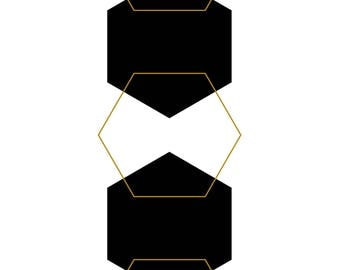 Black and Gold 5-Hexagon Print