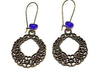 Sleeper earrings floral and Navy Blue Bead