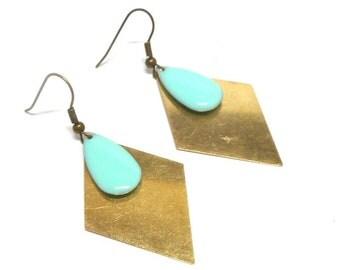 Brass green enamel water drop earrings