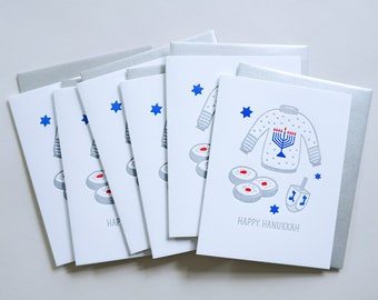 Happy Hanukkah Cards. Boxed Set of 6 Letterpress Holiday Greeting Cards.