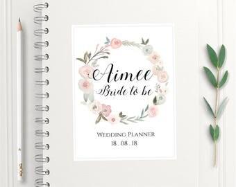 Pastel Rose Personalised Wedding Planner, Handmade Wedding Notebook, Vintage  A5 Wedding Planner Book