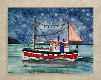 SALE / Holiday Boat card