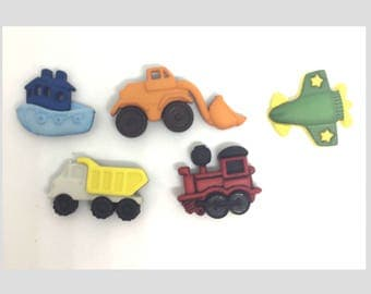 Car, Train, Dump Truck, Boat, Airplane Push Pins or Magnets