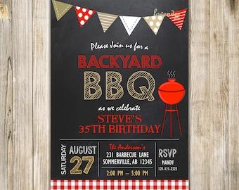 Brown Red BBQ BIRTHDAY Invitation, Surprise Men Women Barbeque Birthday Party, Backyard Barbecue Invite, I do Bbq, Housewarming, Digital
