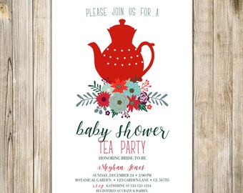 CHRISTMAS BABY SHOWER Tea Party Invitation, Holiday Baby Shower Tea Invite, Baby Open House Invite, Afternoon Tea Shower, A Baby is Brewing