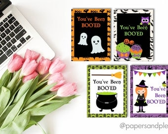 "DIGITAL FILE - Halloween ""You've Been Boo'ed"" Gift Tags - Pack of 4 