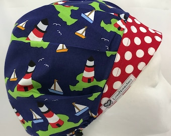 Cape Cod Lighthouses Scrub Hats for Women Bouffant Surgical Cap Caps LoveNstitchies OR Nurse Tech Navy Blue Red White Green Nautical Dots