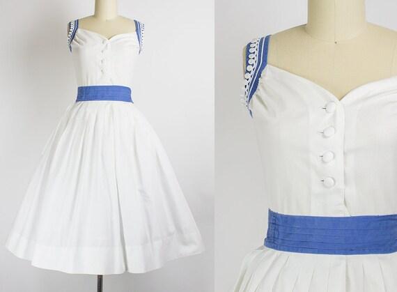 1950s Blue and White Cotton Dress   XS (34B/24W)