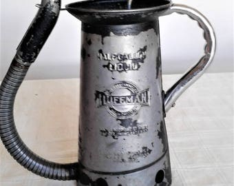 Vintage One Half Gallon Huffman Oil Can With A Long Flexible Bottom Spout
