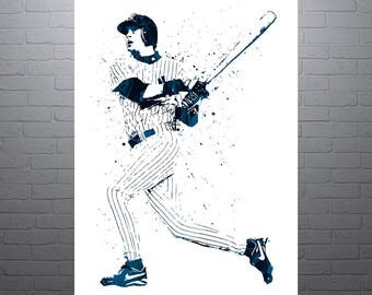 Aaron Boone New York Yankees, Sports Art Print, Baseball Poster, Kids Decor, Watercolor Contemporary Abstract Drawing Print, Man Cave