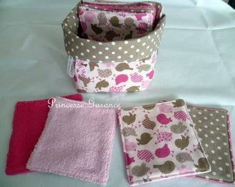 12 large wipes cotton birds and Terry cloth and matching square basket - baby or MOM