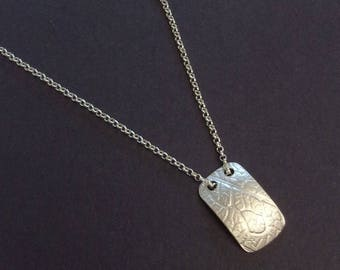 Silver engraved pendant necklace, minimalist