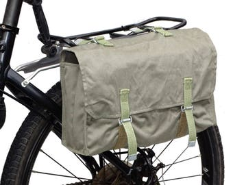 1970s genuine army surplus grey canvas pannier bag vintage bicycle pannier with detachable shoulder strap shoulder bag retro