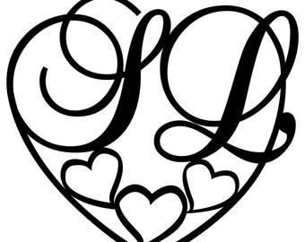 Monogram Vinyl Decal Heart Shape