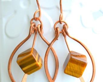 Natural Stone Earrings,Brow Stone Earrings,Tigereye Earrings,Handmade Copper Wire Earrings,Wire Wrapped Earrings,FREE SHIPPING