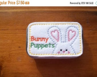 On sale Bunny Finger Puppet Tin: Basket Filler, Party Favor , Easter Gift
