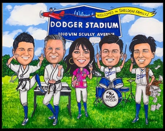 Customcaricature, Dodger caricature, Karate caricature, retirement for man, retirement for woman, retirement for women, retirement for men,