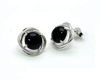 Stuuning Black Onyx Infinity Stud Earrings .925 Sterling Silver