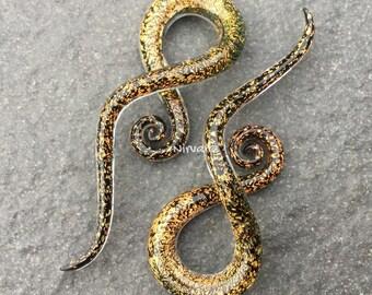 """1 Pair - Orange Gold Dichroic Glass Note Spirals 10g 8g 6g 4g 2g 0g 00g 7/16"""" 1/2"""" 9/16"""" 5/8""""  3 mm 4 mm 5 mm 6 mm 8 mm  - 16 mm"""