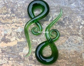 "Translucent Green Note Spirals 10g 8g 6g 4g 2g 0g 00g 7/16"" 1/2"" 9/16"" 5/8""  2.5 mm 3 mm 4 mm 5 mm 6 mm 8 mm 10 mm - 16 mm"