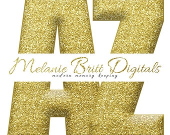 GOLD GLITTER ALPHABET, glitter alphabet clipart, gold sparkle alphabet, glitter scrapbook alphabet, printable alphabet, instant download