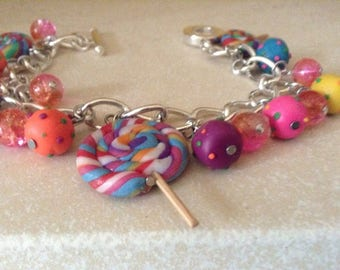 Sliver Bracelet with Candy Crush Blast Charms, Lollies and Glass Beads -Decoden