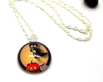 Halloween cat on broom and pumpkin necklace