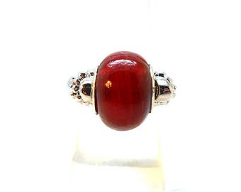 Red glass beads silver ring