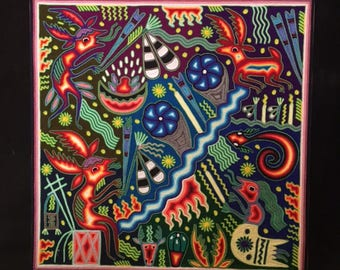 24'' x 24'' Huichol Indian Yarn Painting Mexican Folk Art Speaking with the Deer our Spirit Guide