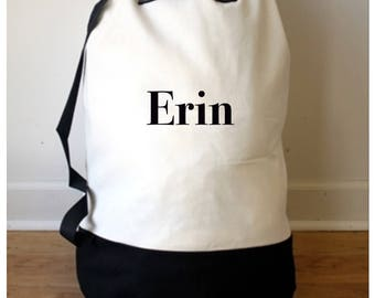 Monogrammed Laundry Bag/ Drawstring Laundry Bag/ Canvas Laundry Bag