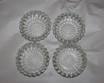 Four Vintage Dishes, Could be Candy Dishes or Home Decoration around The House, Very Pretty with Nice Design on Them, Identical, Cut Glass