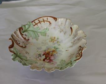 Vintage Bowl, Nice Flower Decoration with Embossed Decoration, Beveled Edging, Colorful,