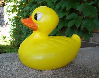 Big Hard Plastic Floating Yellow Duck // 1960's Duck Toy // Bath Toy // Child Room Decor // Bathroom Decor // Photo Movie Prop